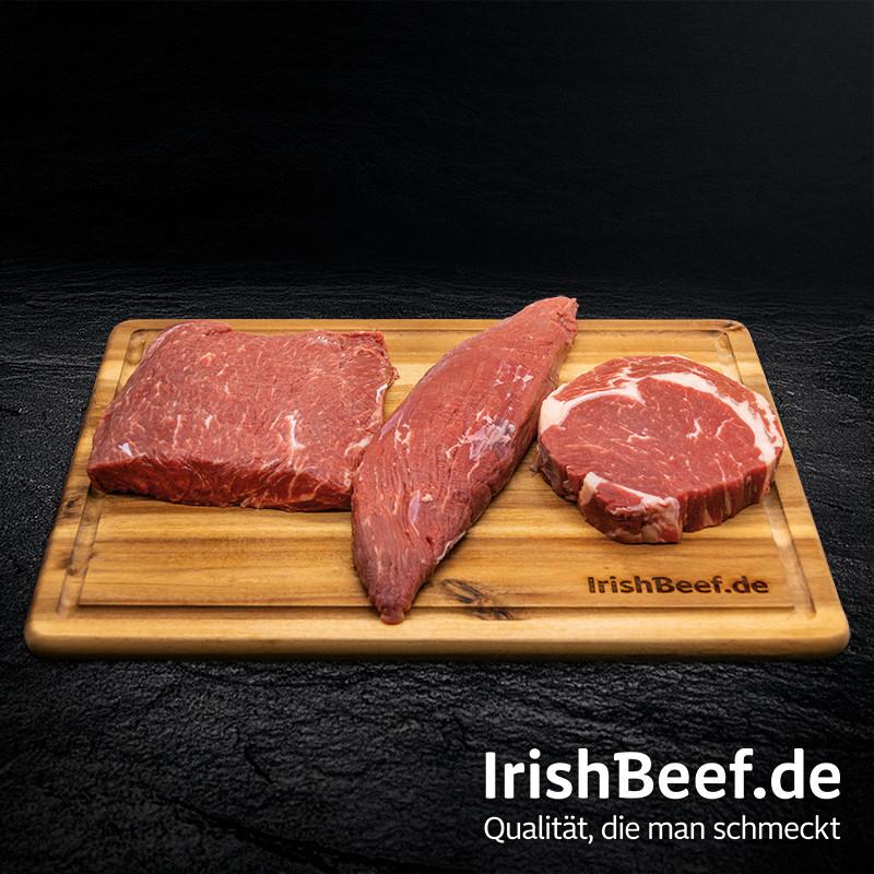 Irish Green GenussSet mit Schneidebrett und Fleisch