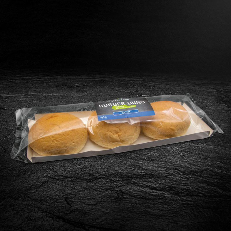 Verpackte weiche vegane Burger-Brötchen von Frank Rosin