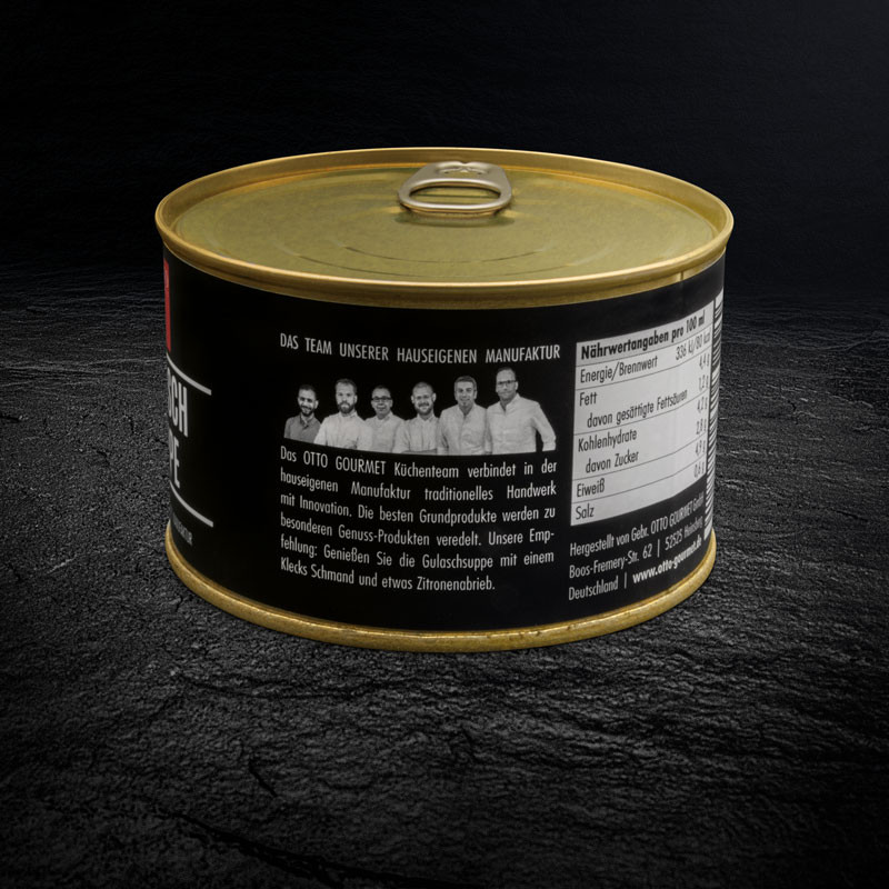 Gulaschsuppe Etikett - Konserve mit GUTEM FLEISCH