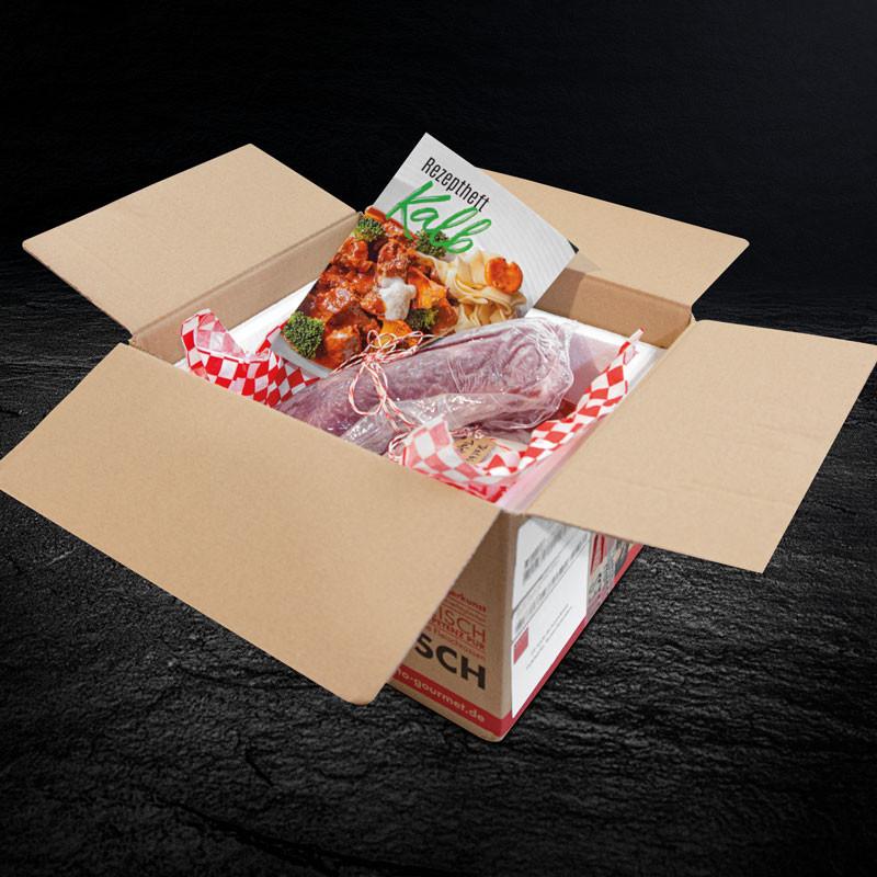 Kalb-Schmorkiste verpackt mit Rezeptheft