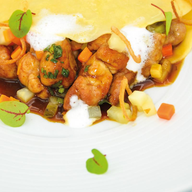 Offene Ravioli gefüllt mit Lammbries-Ragout