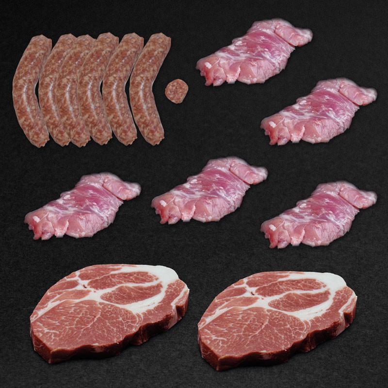 Gourmet Grillgenusspaket vom LiVar Klosterschwein mit Bratwürsten, Kachelfleisch und Nackensteaks