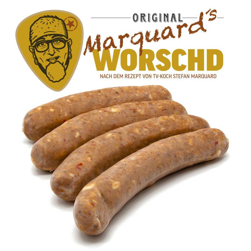 Stefan Marquard´s Fränkische Bratwurst mit Bergkäse & Paprika roh