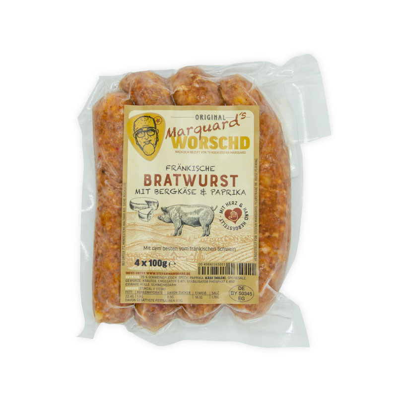 Stefan Marquard´s Fränkische Bratwurst mit Bergkäse & Paprika in der Verpackung