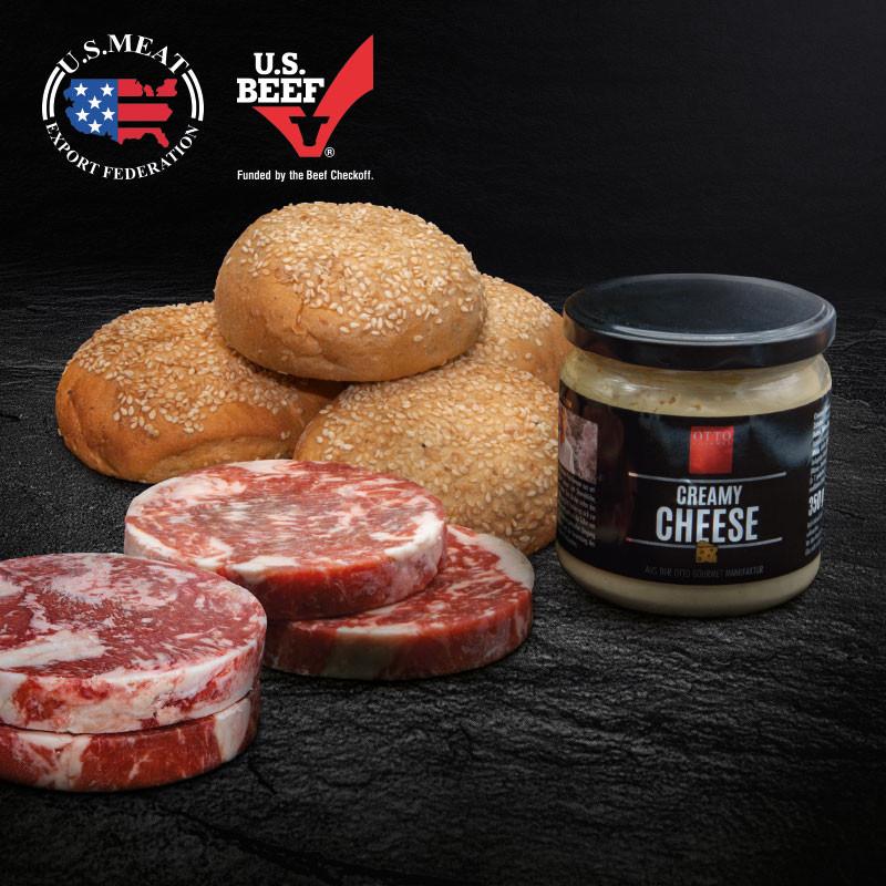 Philly Cheese Steak Sandwich Paket bestehend aus Steak Stripes Patty, Käsesauce & Burgerbrötchen