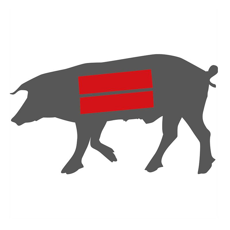 Hier liegt das Rippenfleisch beim Ibérico Schwein