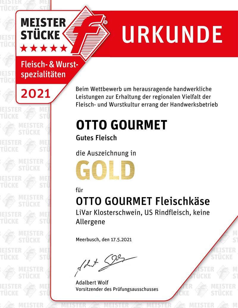 Gold-Urkunde für Fleischkäse bei den Meisterstücke-Wettbewerben des Metzgerhandwerks