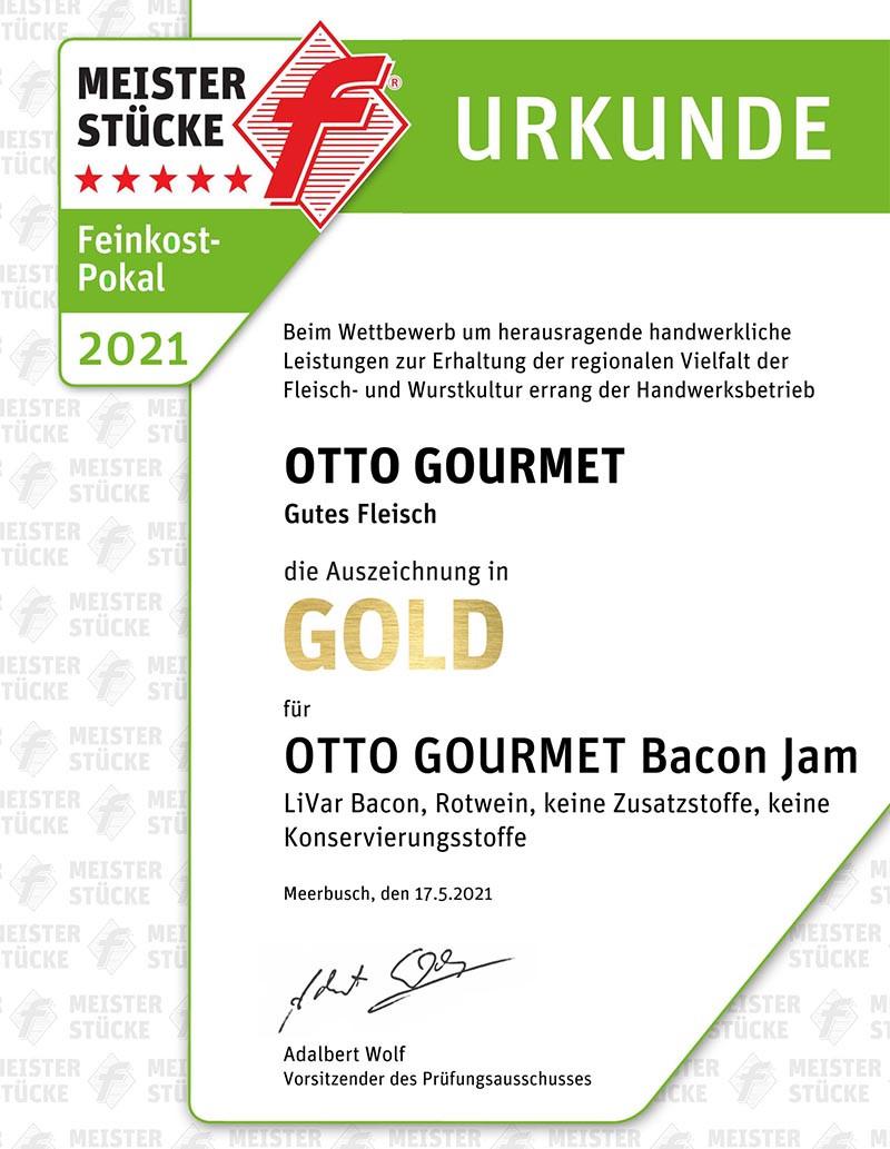 Meusterstücke Gold-Urkunde für OTTO GOURMET Bacon Jam