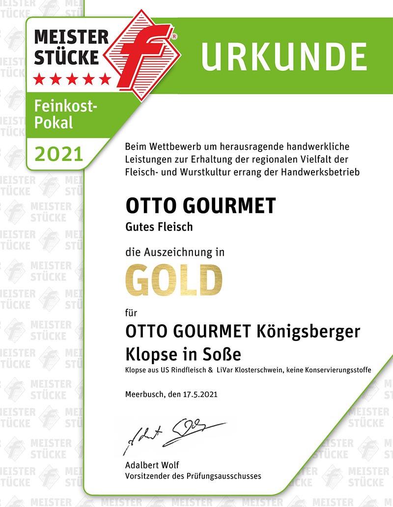 Gold-Urkunde für Königsberger Klopse bei den Mesiterstücke-Wettbewerben für Fleischkultur