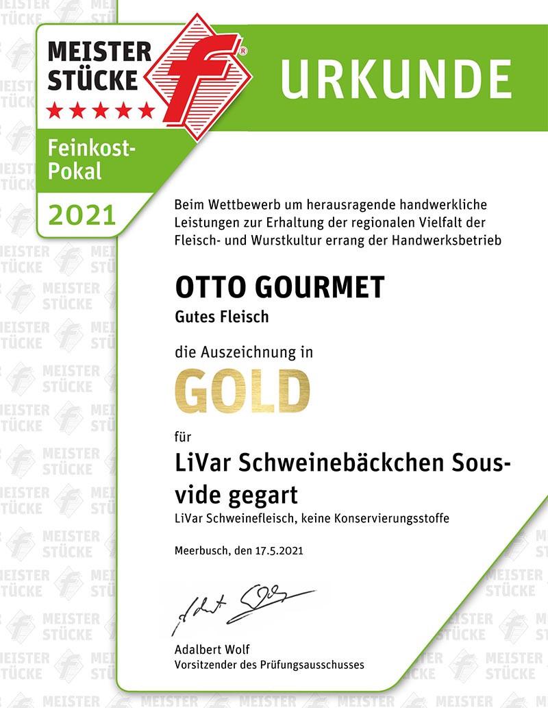 Gold Urkunde für LiVar Schweinebäckchen bei den Meisterstücke-Wettbewerben für Fleisch- & Wurstkultur