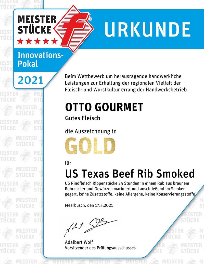 Gold Urkunde Meisterstücke 2021 für OTTO GOURMET US Texas Beef Rib smoked
