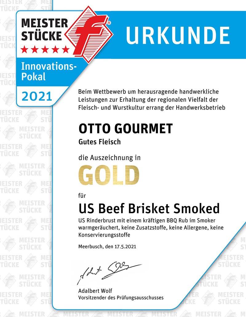 Gold Urkunde Meisterstücke 2021 für OTTO GOURMET Brisket smoked